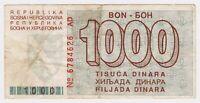 Bosnia 1000 Dinara 1992 Very Rare War Money Siege of Sarajevo Paper Banknotes