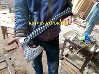 Blacksmith New Custom Handmade Carbon Steel Viking Bearded Axe, Ash Wood Handle