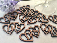Personalised Monogram Cut Out Rustic Wooden Hearts Wedding Favour Table Confetti