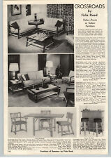 1956 PAPER AD Crossroads by Ficks Reed Patio Porch Furniture Mid Century Modern