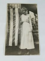 Vintage Collectible Real Photo Post Card Pretty Young Lady with US Flag 1920's?