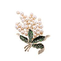 Broche Fleur Feuille Mini Perle Email Vert Retro Doré XZ 4