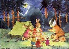 Badger Rabbits Mice Camping Campfire Tales Medici Postcard Jean Gilder
