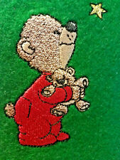 "Finished Bear fabric Embellishment 2x4"" Machine Embroidered on green Felt"