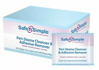 SAFE N SIMPLE PERI-STOMA CLEANSER ADHESIVE REMOVER LARGE SIZE WIPES #SNS00575 X2