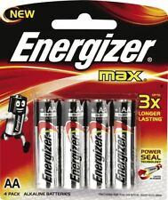 NEW Energizer MAX AA Alkaline 4 Pack LR06 E91BP4TN