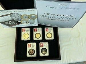 2019 BU Royal Mint Date Stamp 5 Coin Specimen Set Victoria £5 3 x £2 D-day Pepys