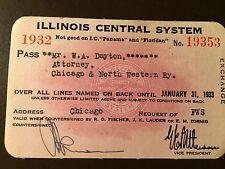 1932 Illinois Central Railroad Company railroad pass