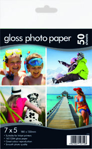 """7""""x 5"""" Photo Gloss Paper 160gsm - Suitable for inkjet Printer 50 sheets"""