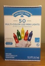 Holiday Time 50 Multi-Color LED Mini Lights-Christmas-Wedding-NEW-White Wire