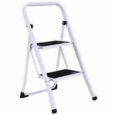 2 Step Ladder Folding Steel Step Stool Anti-slip Heavy Duty With 330lbs Capacity