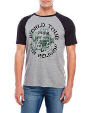 True Religon Jeans ROCK TOUR GRAPHIC RAGLAN Tee T Shirt TRI-BLEND Top~Men sz Lrg