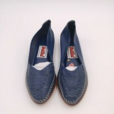 Vintage Bellini Blue Leather Flats Shoes Size Us 5.5