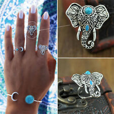 1Piece Elephant Ring Pretty Punk Rings Boho Carving Silver Plated Knuckle Ring �