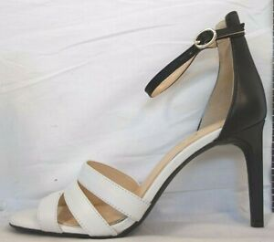 Jessica Simpson Size 8.5  Black White Leather Open Toe Pumps New Womens