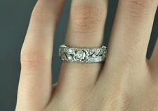 $2,750 Vintage Estate Platinum Single Cut Round Diamond Eternity Ring Size 6.75