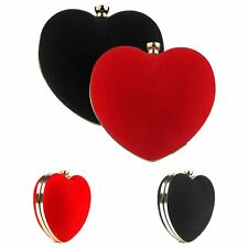 Flannel Heart Shape Evening Bag Women Wedding Banquet Peach Clutch Purse Handbag