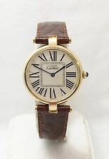 Vintage Must de CARTIER PARIS VERMEIL 925 Argent Plaque Unisex Watch