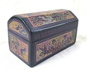 Vintage Olinala Lacquer Ware Fantasia Enamel Box - Olinala Mexico