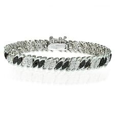 Silver Tone 0.10ct Treated Black & White Diamond Marquise S Bracelet in Brass