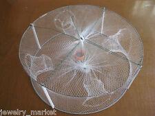 JM Round Fishing Net Portable Fish Shrimp Minnow Crab Bait Cast Mesh 33*12cm