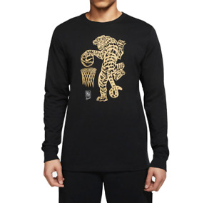 Nike Long Sleeve Tee Mens Medium Authentic New Dunking Master Black Gold Graphic