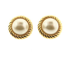 KJL Kenneth Jay Lane Pearl Stud Earrings Gold Tone