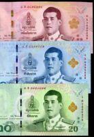 THAILAND SET 3 UNC 20 50 100 BAHT 2018 P