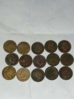 Lot of 15 Indian Head Cents - Circulated/Culls 1859, 1860, 1862, 1863 Civil War