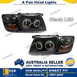 Pair Headlights + Indicators For Nissan Patrol GU  Black LED ANGEL EYE LHS+RHS