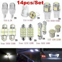 14Pcs Interior White LED Package Kit For T10&31mm Map Dome License Plate Lights