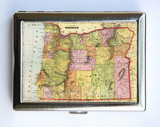 Oregon Cigarette Case Wallet Business Card Holder id case atlas map Portland