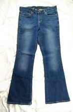 Calvin Klein Whisker Sand Faded Dark Wash Blue Flare Jeans Size 8