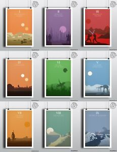 STAR WARS Complete Poster Set  - 11 x Minimalist Unique Posters by Posteritty