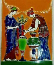 Vtg Greek Mythology Ceramic Tile Wall Art Hand Made By Smaltotechniki
