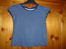 Cute girls blue and white spot cap sleeve top, GEORGE, 2-3 years, excellent