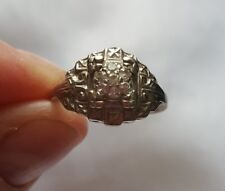 Gorgeous Vintage Art Deco 14k White Gold & Diamond Ring - SZ 6.5