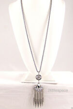 "Vintage Tassel Necklace Flapper 30"" Rhinestones Silvertone (Missing One Stone)"