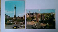 2 Barcelona Spain Vintage colour postcards c1960s Period cars