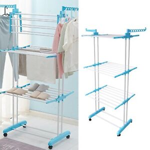 Foldable Extra Large 3 Tier Bedroom Outdoor Clothes Airer Laundry Dryer Rack New