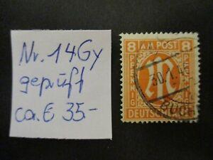 Allierte Besetzung (US & Brit. Zone)1945 Freim: M im Oval- Mi-no: 14Gy gepr -AL2