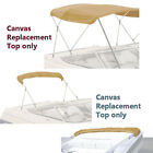 """Bimini Top Boat Cover Canvas Fabric Tan with Boot Fits 3 Bow 72""""L 54""""- 60""""W"""