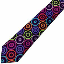 New Neck-tie Jacquard Woven 100% Silk Classic Multi-color Circles Lawrence Ivey