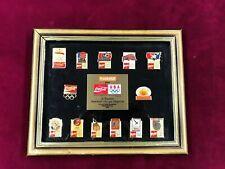 1992 Olympic BARCELONA Framed 13 Pin Set Coca-Cola PharMor Limited Edition (BTD)