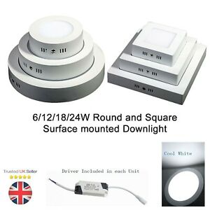 6W 12W 18W 24W LED Surface Mounted Ceiling Panel Light Downlight Round Square