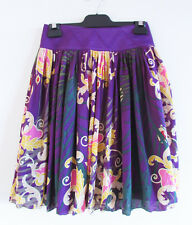 Zac Posen Target Sz 8 Purple Paisley Regal Print Pleated Silk Skirt Satin Waist