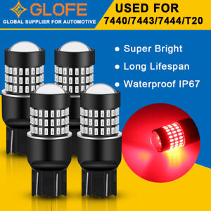 4Pcs GLOFE 7443 7440 Brake Tail Stop Parking Light Bright Ultra Red LED Bulbs