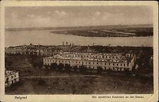 Belgrad Serbien s/w AK ~1914-18 Blick auf die zerstörten Kasernen an der Donau