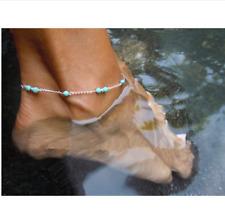 Fußkettchen silber türkis Perlen Fußkette Damen Armband Armkette Boho Schmuck