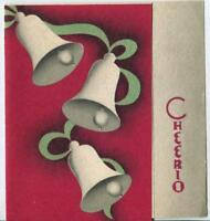 VINTAGE CHRISTMAS WOODBLOCK PRINT ART NOUVEAU DECO MINIMALIST BELL GREETING CARD